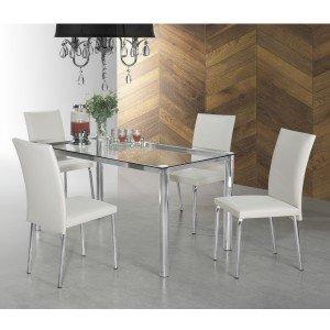 Conjunto Sala de Jantar Mesa Daiane 4 Cadeiras Viana Aço Nobre Móveis Branco