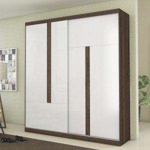 Guarda Roupa Casal 2 Portas de Correr Agile Albatroz Móveis Flex Color Cedro/Branco