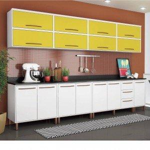 Cozinha Completa Modulada 12 Peças Albatroz Móveis Branco/Amarelo
