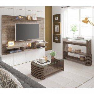 Sala de Estar com Painel, Aparador e Mesa de Centro Carmel Artely Canela