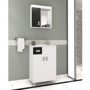 Gabinete para Banheiro com Espelheira Kit 50 com Gaveta (Não acompanha torneira) Balcony Branco/Preto