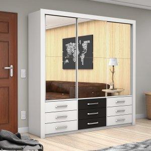 Guarda Roupa Casal 3 Espelhos 3 Portas de Correr Anjos Premium Carioca Móveis Branco/Preto