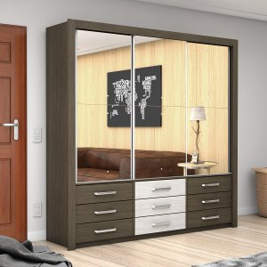 Guarda Roupa Casal 3 Espelhos 3 Portas de Correr Anjos Premium Carioca Móveis Malbec/Roveri