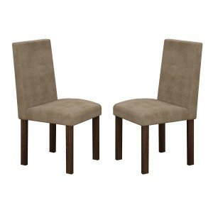 Conjunto 2 Cadeiras Village Cel Móveis Malbec/ Suede Animale Bege