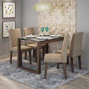 Conjunto Sala de Jantar Mesa Tampo em Vidro Anita 4 Cadeiras Milena Cimol Marrocos/Suede Marfim