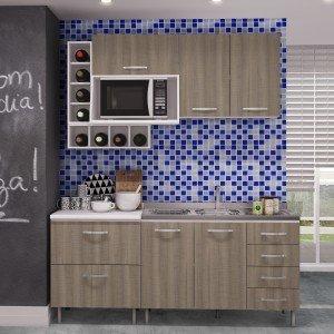 Cozinha Completa com Balcão e Tampo 6 Peças Bologna Completa Móveis Andorra