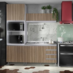 Cozinha Completa com Balcão sem Tampo 4 Peças Pesaro Completa Móveis Andorra