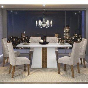 Conjunto Sala de Jantar Mesa Itália 6 Cadeiras Golden Dj Móveis Branco Laca/Demolição