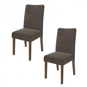 Conjunto 2 Cadeiras Golden Dj Móveis Rústico Malbec/Pena Marrom