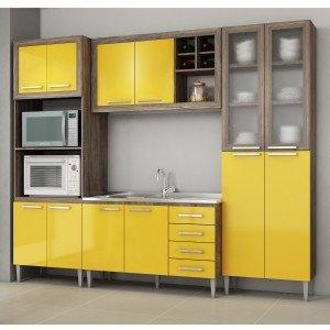 Cozinha Completa 4 Módulos 12 Portas 4 Gavetas sem Tampo e Cuba Style Fellicci Naturalle/Amarelo