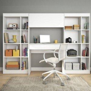 Home Office com 1 Escrivaninha 2 Estantes 1 Armário Prime Web Gebb Work Branco