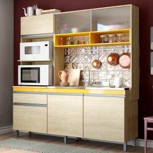 Cozinha Compacta 3 Peças 248 Carina Casamia (Não Acompanha Tampo, Pia e Torneira) Carvalho/Amarelo