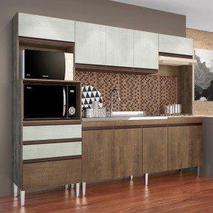 Cozinha Compacta 4 Peças 268 Ariel Casamia (Não Acompanha Pia e Torneira) Dark Snow
