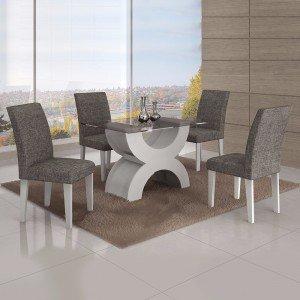 Conjunto Sala de Jantar Mesa Tampo Vidro 120cm 4 Cadeiras Olímpia New Leifer Branco/Linho Cinza