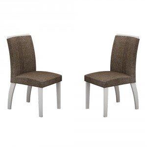 Conjunto 2 Cadeiras Estofadas Alemanha Leifer Branco/Linho Marrom