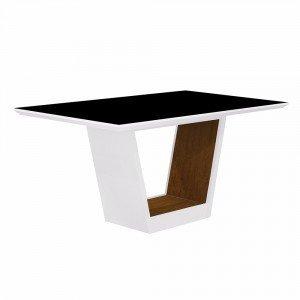 Mesa de Jantar Retangular Tampo MDF/Vidro Alemanha Leifer Flex Color Branco/Preto/Imbuia Mel