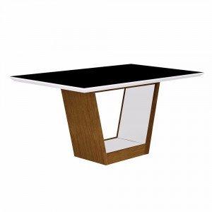 Mesa de Jantar Retangular Tampo MDF/Vidro Alemanha Leifer Flex Color Imbuia Mel/Preto/Branco