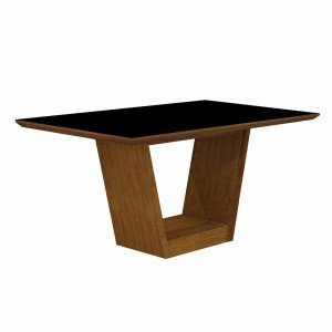 Mesa de Jantar Retangular Tampo MDF/Vidro Alemanha Leifer Flex Color Imbuia Mel/Preto