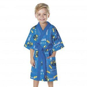Roupão Infantil P Aveludado Batman Algodão Lepper Azul