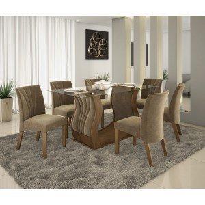 Conjunto Sala de Jantar Fortuna com 6 Cadeiras Alto Brilho Prêmio LJ Móveis Castanho Vel Pena Caramelo