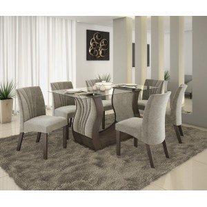 Conjunto Sala de Jantar Fortuna com 6 Cadeiras Alto Brilho Prêmio LJ Móveis Chocolate Vel Pena Bege