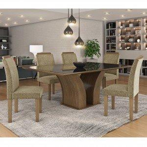 Conjunto Sala de Jantar Mesa Tampo MDF/Vidro Leblom 6 Cadeiras Pietra LJ Móveis Castanho