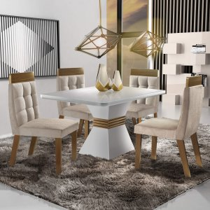 Conjunto Sala de Jantar 4 Cadeiras Cronos Siena Móveis Branco/Animale Bege