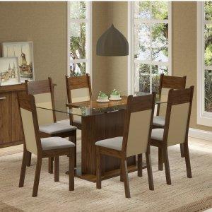 Conjunto Sala de Jantar Mesa 6 Cadeiras Atlanta Madesa Rustic/Crema/Pérola