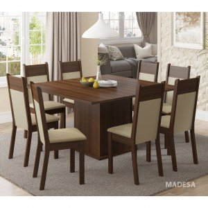 Conjunto Sala de Jantar Mesa 8 Cadeiras Panamá Madesa Tabaco/Crema/Pérola