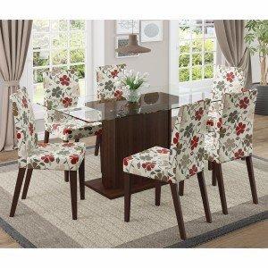 Conjunto Sala de Jantar Mesa 6 Cadeiras Carla Madesa Rustic/ Floral Hibiscos