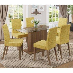 Conjunto Sala de Jantar Mesa 6 Cadeiras Carla Madesa Rustic/Palha