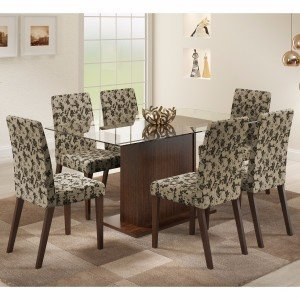 Conjunto Sala de Jantar Mesa 6 Cadeiras Carla Madesa Rustic/Floral Bege