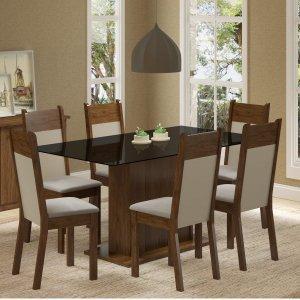 Conjunto Sala de Jantar Mesa 6 Cadeiras Atlanta Madesa Rustic/Pérola/Preto
