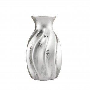 Vaso Decorativo em Cerâmica Texturizado 15,5cmx9cm Mart Collection Prata