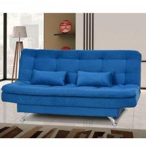 Sofá Cama 3 Lugares com 2 Almofadas Salomé Matrix Suede Amassado Azul