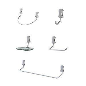 Kit Acessórios para Banheiro com 5 peças Meber 505 C Clic Cromado
