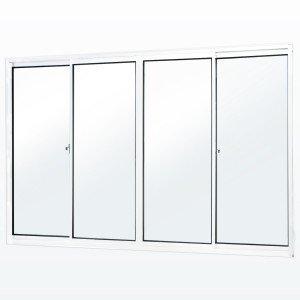 Janela de Correr 4 Folhas 2 Fixas Soft MGM 5,5 100 x 120 Vidro Mini Boreal Branco