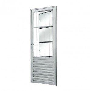 Porta de Alumínio com Grade Vidro Liso Sólida MGM 210cmx80cm Branco