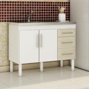 Balcão de Cozinha 2 Portas 94cm Roma MGM Móveis (Balcão Não Acompanha Tampo e Pia) Branco/Acácia