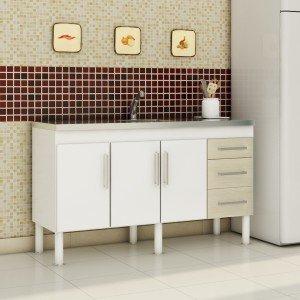 Balcão de Cozinha 3 Portas 154cm Roma MGM Móveis (Balcão Não Acompanha Tampo e Pia) Branco/Acácia