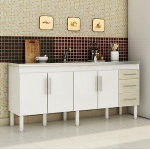 Balcão de Cozinha 4 Portas 174cm Roma MGM Móveis (Balcão Não Acompanha Tampo e Pia) Branco/Acácia