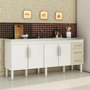 Balcão de Cozinha 4 Portas 194cm Roma MGM Móveis (Balcão Não Acompanha Tampo e Pia) Branco/Acácia