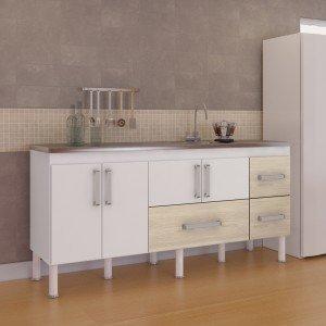 Balcão de Cozinha 4 Portas 194cm Bari MGM Móveis (Balcão Não Acompanha Tampo e Pia) Branco/Acácia