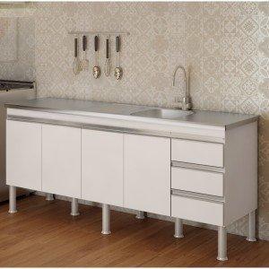 Balcão de Cozinha 4 Portas 193,5cm Ibiza MGM Móveis (Balcão Não Acompanha Tampo e Pia) Branco