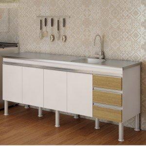 Balcão de Cozinha 4 Portas 193,5cm Ibiza MGM Móveis (Balcão Não Acompanha Tampo e Pia) Branco/Nogueira