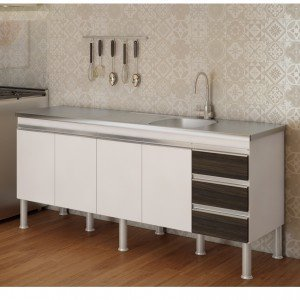 Balcão de Cozinha 4 Portas 193,5cm Ibiza MGM Móveis (Balcão Não Acompanha Tampo e Pia) Branco/Castanho