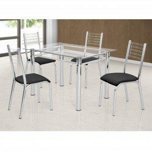 Conjunto de Mesa Tampo Vidro com 4 Cadeiras Camila Premium Ciplafe Cromado/Preto