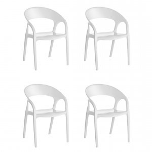 Conjunto 4 Cadeiras Glass Plus Kappesberg Branco