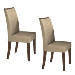 Conjunto 2 Cadeiras Apogeu Móveis Lopas Imbuia/Naturale Creme