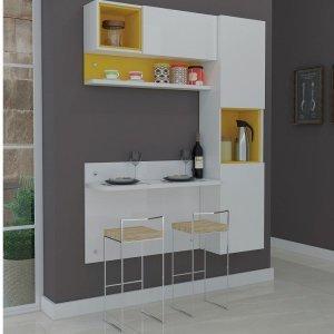 Cozinha Compacta com 3 Módulos Prisma Móveis Ronipa Branco/Amarelo